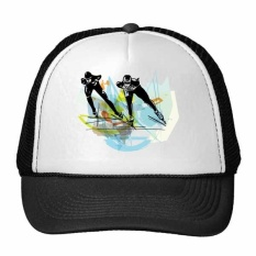 Winter Sport Speed Skating Athletes Sports Skate Watercolor Sketch Trucker Hat Baseball Cap Nylon Mesh Hat Cool Children Hat Adjustable Cap