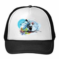 Olahraga Musim Dingin Disinkronkan Ski Olahraga Atlet Freestyle Ski Watercolor Sketsa Ilustrasi Trucker Topi Bisbol Topi Nylon Mesh Topi Keren Anak Hat Adjustable Cap-Intl