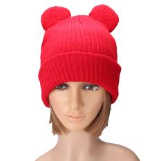 Musim dingin topi rajutan wol tebal dengan dua telinga wanita topi kupluk yang hangat dan lembut yang baru merah - Internasional