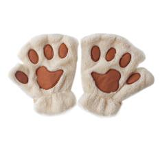 Spesifikasi Cakar Kucing Lucu Musim Dingin Wanita Mewah Sarung Tangan Setengah Jari Pendek Krem Intl Dan Harganya