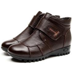 Dapatkan Segera Musim Dingin Wanita Sepatu Wanita Kulit Asli Flat Ankle Boots Hangat Salju Boots Brown Intl