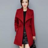 Jual Musim Dingin Wol Wanita Lapel Trench Coat Long Slim Mantel Pakaian Luar Ruangan Dr Anggur Merah Intl Branded Original