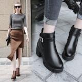 Harga Musim Dingin Women Sthick Round Head High Heels Silinder Tahan Terhadap Udara Platform Boots Brown Termurah
