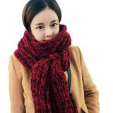 Musim Dingin Wanita Haid Hangat Mengentalkan Merajut Syal Wol Panjang Mohair Rajut Syal Merah Internasional Di Tiongkok