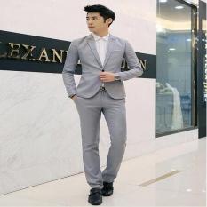 Wjm Formal Pernikahan Pengantin Lelaki Setelan Satu Tombol Ramping Sesuai Jackettuxedos Setelan (Grey)-Internasional