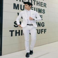 WJM Pria Formal Pernikahan Pengantin Lelaki Setelan Satu Tombol Slim Fit JacketTuxedos Suit (Putih)-Intl