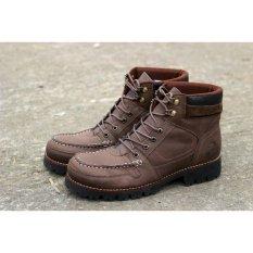 Harga Sepatu Pria Boots Safty Kulit Asli Wolf Rottwailer Coklat Baru