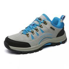 Harga Wolideng Wanita Outdoor Leather Hiking Sepatu Pasangan Biru Intl Yang Murah Dan Bagus