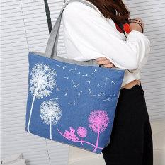 Ulasan Lengkap Woman Canvas Dandelion Boho Tote Zipper Purse Fashion Shoulder Handbag Bag Intl