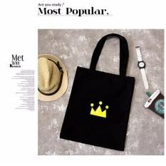 Spesifikasi Wanita Kanvas Tote Bag Kapasitas Besar Lady Bahu Bag Crown Logo Hitam Intl Terbaik