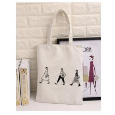 Cuci Gudang Wanita Kanvas Tote Bag Kapasitas Besar Lady Shoulder Bag Logo Putih Intl