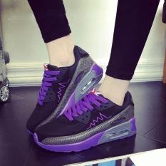 Wanita Fashion Mesh Udara Bantal Sepatu Kasual Sneakers Lightning (Hitam-Ungu)-Intl