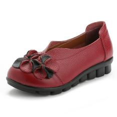 Ongkos Kirim Woman Genuine Leather Flat Shoes Flower Handmade Soft Comfortable Slip On Shoes Female Red Intl Di Tiongkok