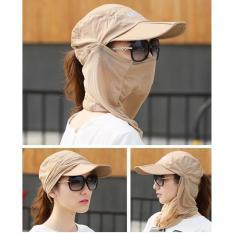 Wanita Wanita Pria 360 Derajat UV Perlindungan Sun Block Topi Foldable Topi Mesh Ember untuk Luar Ruangan Olahraga Bersepeda Hiking Memancing 1446 (Khaki)
