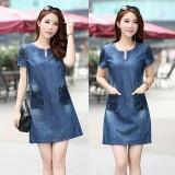Harga Termurah Wanita Jeans Korea Gaun Lengan Pendek Gaun Denim Musim Panas Lady Plus Size Loose Slim A Line Dress Intl