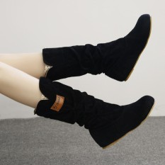 Wanita Lutut Tinggi Bot Datar Heel Nubuck Boot Motor Musim Gugur Musim Dingin-Internasional