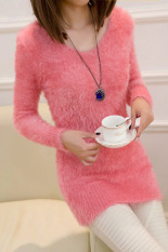 Beli Woman Long Sleeve Soft Stretch Bodycon Package Hip Slim Long Sweater Pink Cicilan