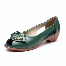 Wanita Terbuka Jempol Sandal Pompa Wanita Kulit Asli Sepatu Kasual Sandal (Hijau)-Intl