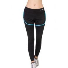 Profesional Wanita Olahraga Yoga Palsu Dua Celana Kebugaran Wanita Olahraga Lari Pas Setelan Kecepatan Celana Ketat Biru Hitam-Internasional