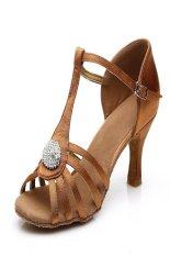 Toko Wanita Summer Ankle Wrape Latin Sepatu Sepatu Tari Salsa Tango Brown Termurah