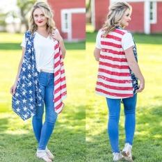 Women American Flag Cetak Blus Longgar Tanpa Lengan Cardigan Mantel-Intl