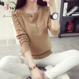 Diskon Women Autum Winter Sweater Korean Vintage Twist Round Neck Long Sleeved Knitted Pullover Sweaters Brown Intl Oem Tiongkok