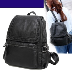 Spesifikasi Wanita Ransel Kulit Kambing Asli Casual Sch**l Grils Tas Shoulder Bag Untuk Wanita Intl Yang Bagus
