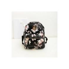 Wanita Backpack Baru Terbaik Jual Hot Fashion Casual Floral PrintingBackpacks PU Kulit Backpack untuk Remaja Putri Mochilas (Hitam) -Intl