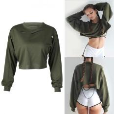 Wanita Batwing Lengan Midriff-Baring Shirt Crop Top Cropped Loans Blus (XL)-Intl