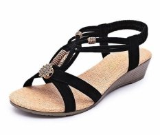 Harga Wanita Beach Sandal Wedge Heel Beaded Thong Flip Flop Gladiator Kausal Flat Shoe Hitam Ukuran Cina 36 40 Hz206 New