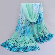 Pola Mawar Wanita Cantik Sifon Selendang Bungkus Bungkus Syal Scarves Bu-Internasional