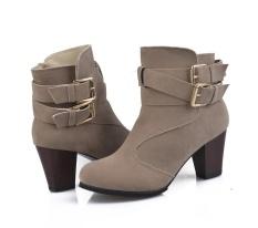 Wanita Belt Buckle Ladies Faux Boots Sepatu Bot Setumit High Heels Martin Sepatu