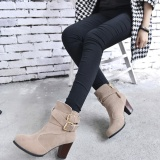 Toko Wanita Belt Buckle Ladies Faux Boots Sepatu Bot Setumit High Heels Martin Sepatu Termurah Tiongkok