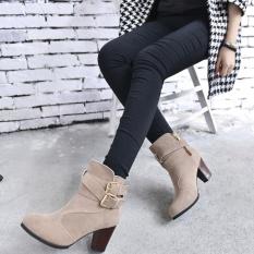 Jual Cepat Wanita Belt Buckle Ladies Faux Boots Sepatu Bot Setumit High Heels Martin Sepatu