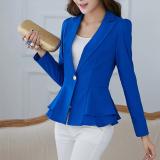 Toko Wanita Blazers Dan Jaket Lengan Panjang Tipis Blazer Ruffle Short Blazer Satu Tombol Untuk Wanita Ol Work Wear Biru Murah Tiongkok