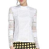 Spesifikasi Wanita Blus Ukuran Better S 5Xl Elegan Musim Panas 2016 Lengan Baju Panjang Putih Kapas Tipis Jarum Berongga Renda Wanita Tops Shirt Yang Bagus