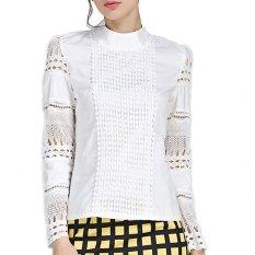 Harga Wanita Blus Ukuran Better S 5Xl Elegan Musim Panas 2016 Lengan Baju Panjang Putih Kapas Tipis Jarum Berongga Renda Wanita Tops Shirt Branded