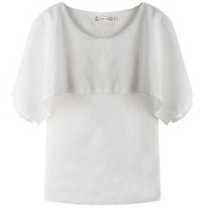 Wanita Blus Shirts 2017 Baru Eropa dan Amerika Lotus Leaf Fake Selendang Longgar Tanpa Lengan Kemeja Sifon-Intl