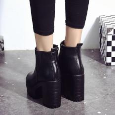 Diskon Produk Wanita Boots Square Heel Platform Kulit Paha Tinggi Pompa Boots Sepatu Bk 35 Intl