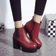 Harga Wanita Boots Square Heel Platform Kulit Paha Tinggi Pompa Boots Sepatu Rd 35 Baru