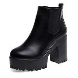 Promo Wanita Boots Square Heel Platform Kulit Paha Tinggi Pompa Boots Sepatu Bk 35 Intl Not Specified Terbaru