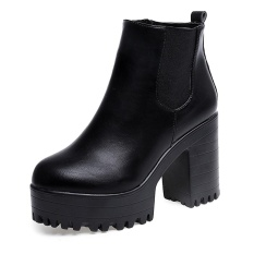 Harga Wanita Boots Square Heel Platform Kulit Paha Tinggi Pompa Boots Sepatu Bk 35 Intl Original