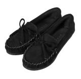 Jual Busur Simpul Sepatu Sandal Wanita Sandal Kulit Slip Pada Ujung Sepatu Bulat Datar Loafers Hitam Internasional Import