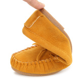 Beli Wanita Simpul Sepatu Sandal Kulit Sandal Slip On Putaran Kaki Datar Sepatu Loafers Kuning Seken