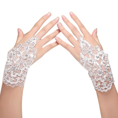 Jual Jual Wanita Bridal Renda Sarung Gaun Sarung Tangan With Manik Manik Mengkilap Detail Untuk Pernikahan Pesta Prom Kinerja Satu Set