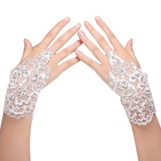Harga Jual Wanita Bridal Renda Sarung Gaun Sarung Tangan With Manik Manik Mengkilap Detail Untuk Pernikahan Pesta Prom Kinerja Yang Murah
