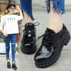 Wanita Brogue Renda Blok Tumit Kulit Platform Chunky Sepatu Casual Oxford Roda Kaki Buatannya-Intl