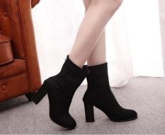 Sabuk Wanita Ladies Faux Sepatu Bot Hangat Pergelangan Kaki Sepatu Bot Hak Tinggi Martin Sepatu-Intl