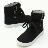 Beli Women Canvas Buckle Strap Lace Up High Top Sneakers Sepatu Hitam Online