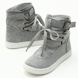 Spesifikasi Women Canvas Buckle Strap Lace Up High Top Sneakers Sepatu Abu Abu Intl
